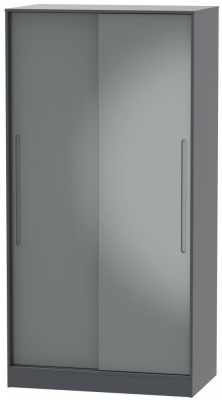 Monaco 2 Door Sliding Wardrobe - High Gloss Grey and Graphite