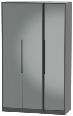 Monaco 3 Door Tall Wardrobe - High Gloss Grey and Graphite