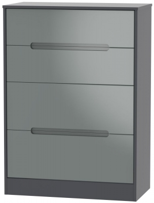 Monaco 4 Drawer Deep Chest - High Gloss Grey and Graphite