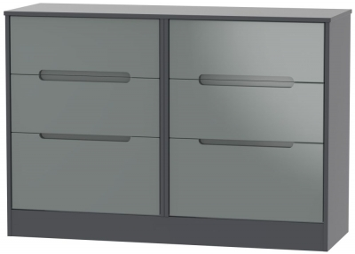 Monaco 6 Drawer Midi Chest - High Gloss Grey and Graphite