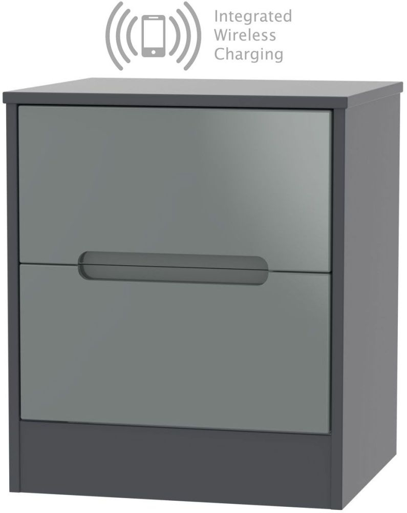 Monaco 2 Drawer Bedside Cabinet with Integrated Wireless Charging - High Gloss Grey and Graphite
