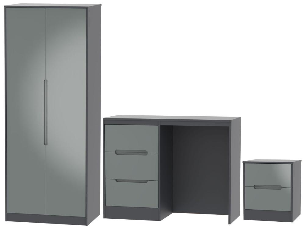 Monaco High Gloss Grey and Graphite 3 Piece Bedroom Set with 2 Door Wardrobe