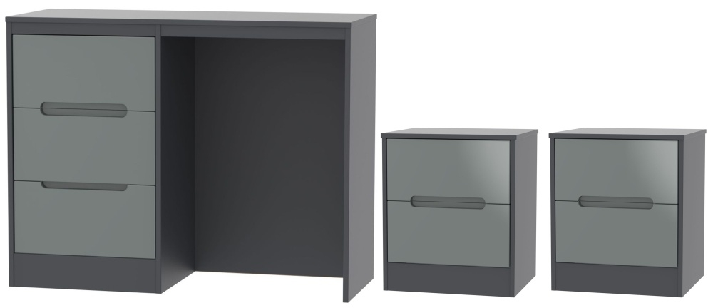 Monaco High Gloss Grey and Graphite 3 Piece Bedroom Set with 2 Drawer Bedside