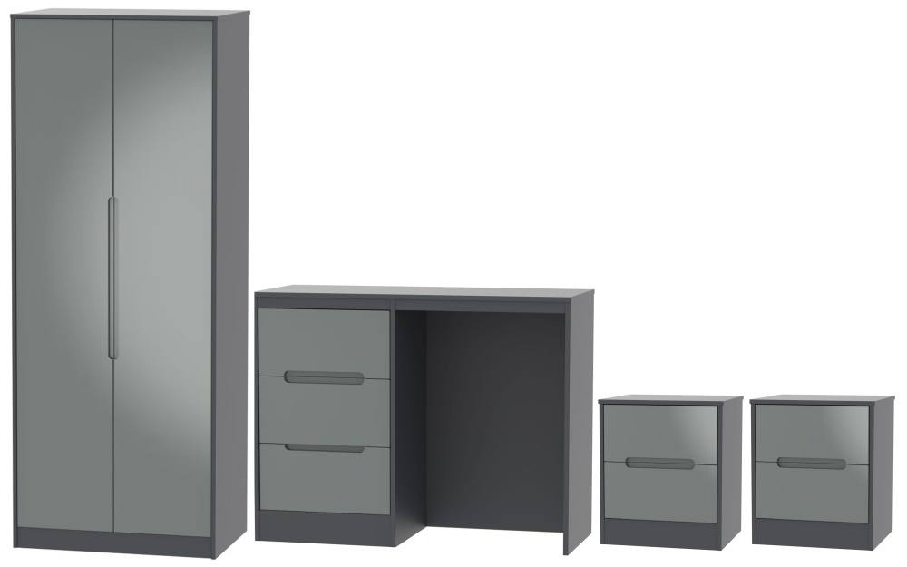 Monaco High Gloss Grey and Graphite 4 Piece Bedroom Set with 2 Door Wardrobe
