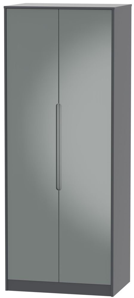 Monaco 2 Door Tall Wardrobe - High Gloss Grey and Graphite