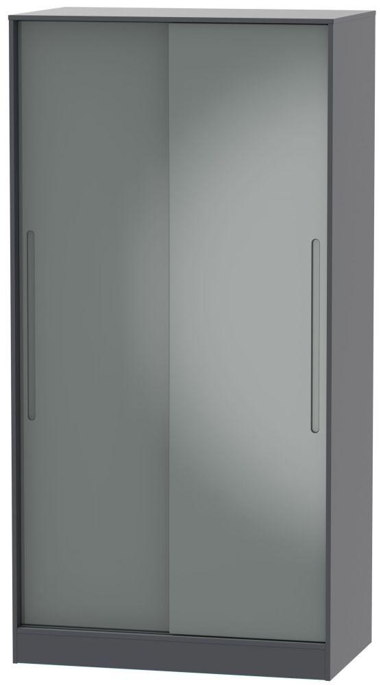 Monaco 2 Door Sliding Wardrobe - High Gloss Grey and Graphite