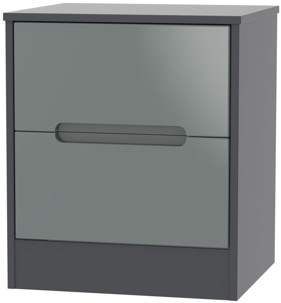 Monaco 2 Drawer Bedside Cabinet - High Gloss Grey and Graphite