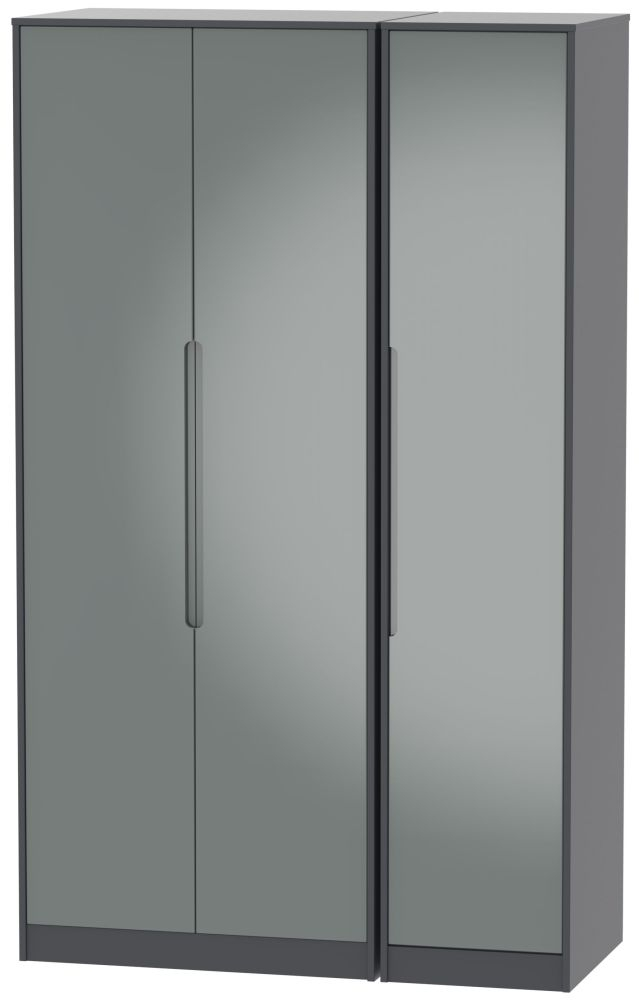 Monaco High Gloss Grey and Graphite 3 Door Tall Plain Triple Wardrobe