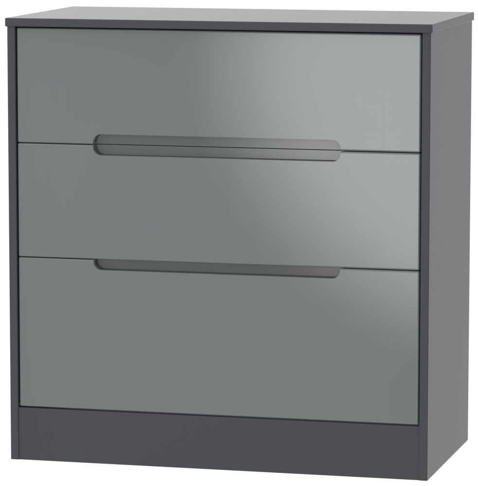 Monaco High Gloss Grey and Graphite 3 Drawer Deep Chest
