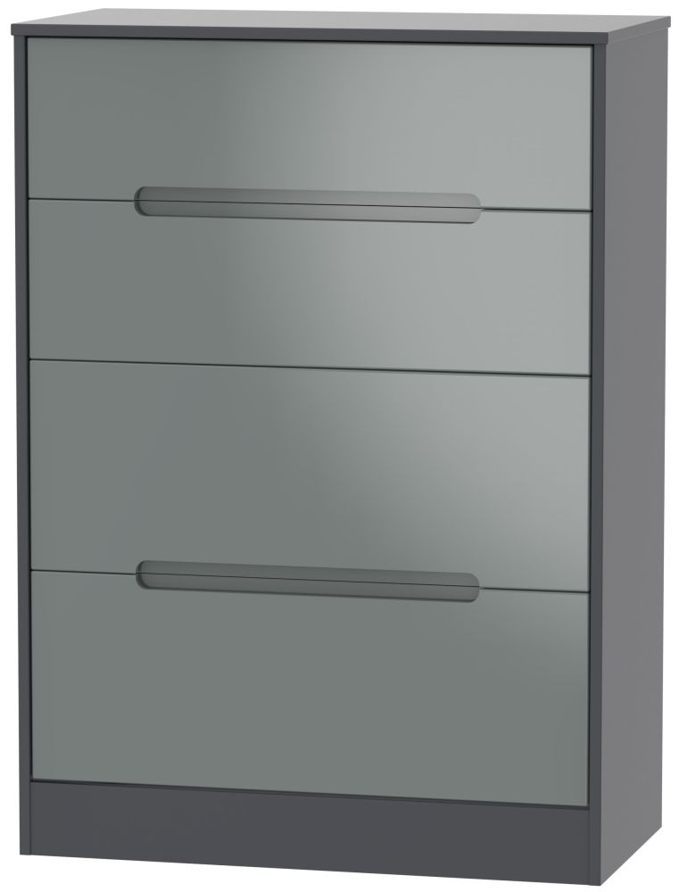 Monaco High Gloss Grey and Graphite 4 Drawer Deep Chest