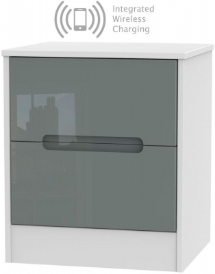Monaco 2 Drawer Bedside Cabinet with Integrated Wireless Charging - High Gloss Grey and White