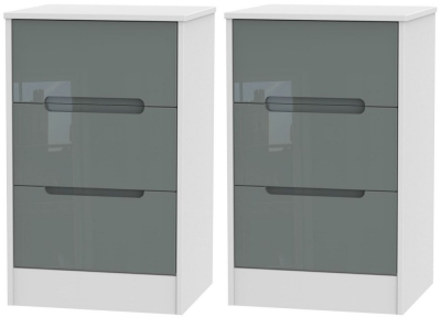 2 X Monaco High Gloss Grey and White 3 Drawer Bedside Cabinet (Pair)