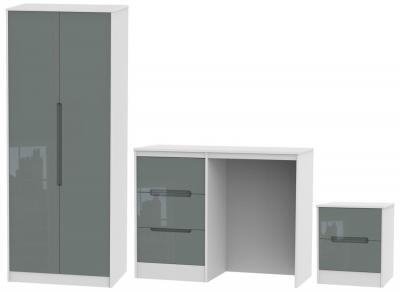 Monaco High Gloss Grey and White 3 Piece Bedroom Set with 2 Door Wardrobe