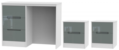 Monaco High Gloss Grey and White 3 Piece Bedroom Set with 2 Drawer Bedside