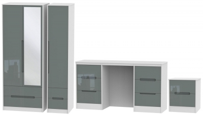 Monaco High Gloss Grey and White 3 Piece Bedroom Set with 3 Door Combi Wardrobe