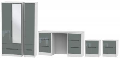Monaco High Gloss Grey and White 4 Piece Bedroom Set with 3 Door Combi Wardrobe