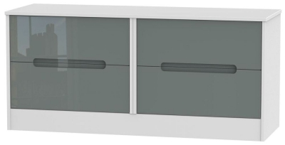 Monaco High Gloss Grey and White Bed Box - 4 Drawer