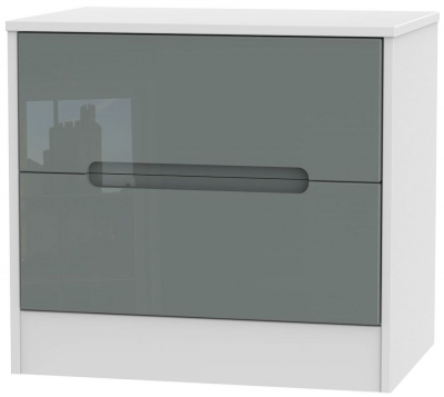 Monaco High Gloss Grey and White Chest of Drawer - 2 Drawer Midi