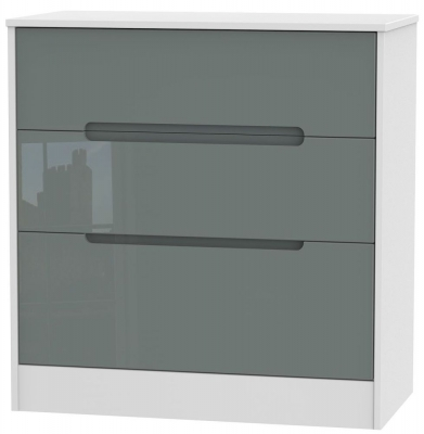 Monaco High Gloss Grey and White Chest of Drawer - 3 Drawer Deep