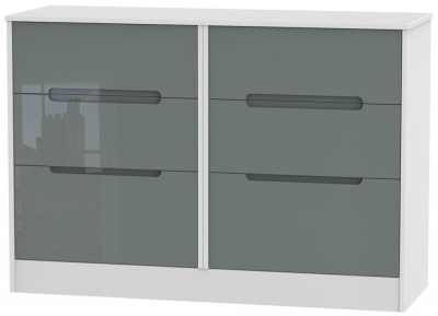 Monaco High Gloss Grey and White Chest of Drawer - 6 Drawer Midi