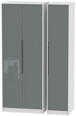 Monaco High Gloss Grey and White Triple Wardrobe - Tall Plain