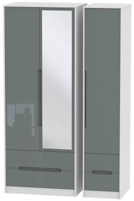 Monaco High Gloss Grey and White Triple Wardrobe - Tall with Drawer and Mirror