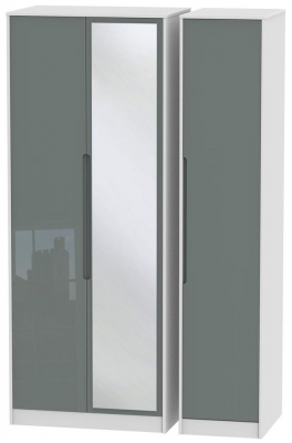 Monaco High Gloss Grey and White Triple Wardrobe - Tall with Mirror