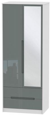 Monaco 2 Door Tall Combi Wardrobe - High Gloss Grey and White