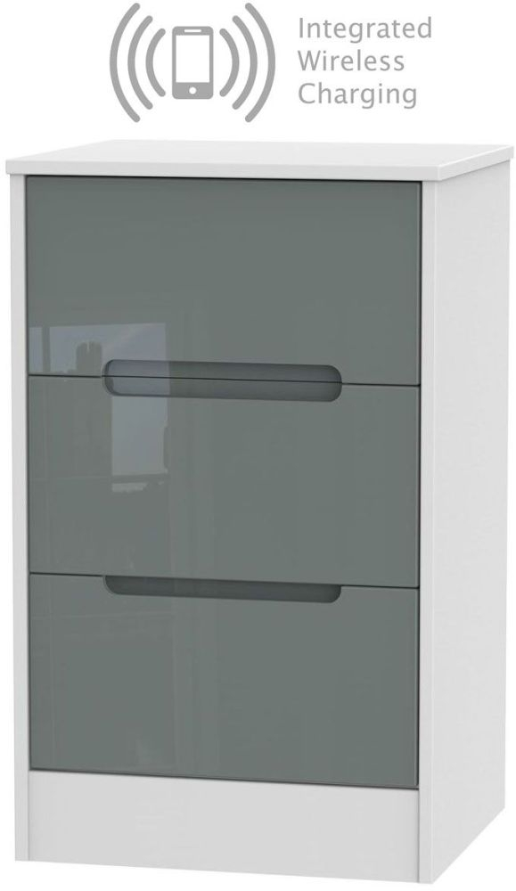 Monaco 3 Drawer Bedside Cabinet with Integrated Wireless Charging - High Gloss Grey and White