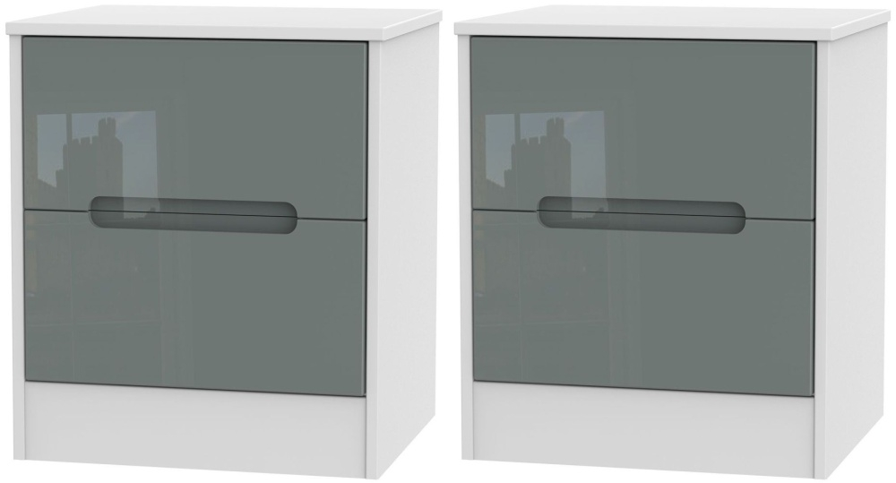 2 X Monaco High Gloss Grey and White 2 Drawer Bedside Cabinet (Pair)