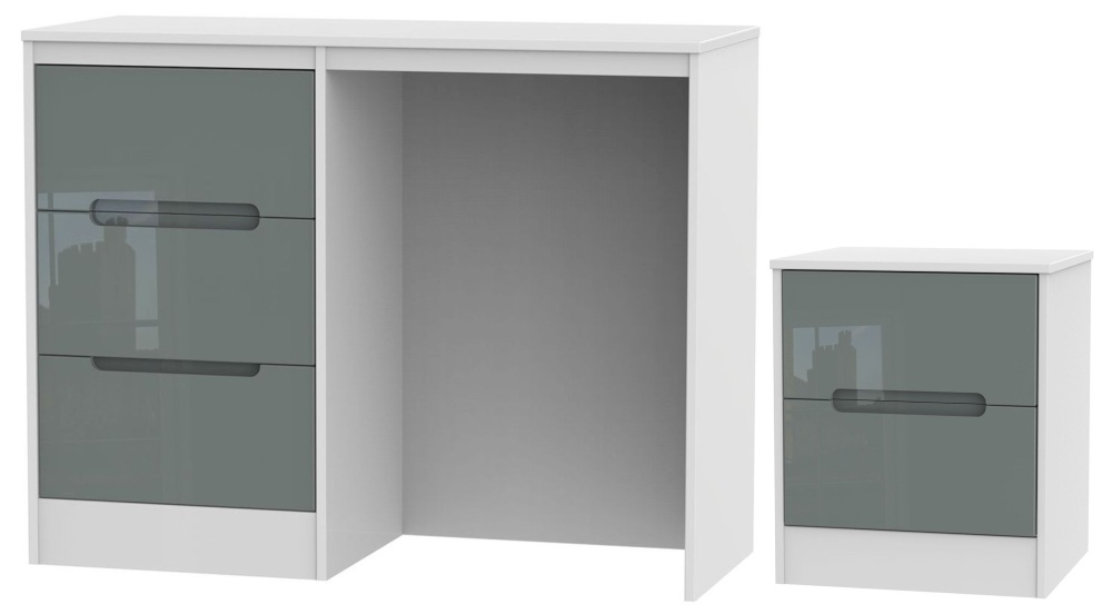 Monaco High Gloss Grey and White 2 Piece Bedroom Set with 2 Drawer Bedside