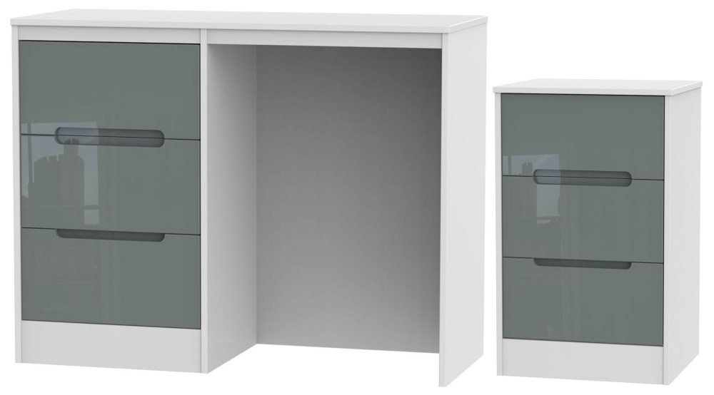 Monaco High Gloss Grey and White 2 Piece Bedroom Set with 3 Drawer Bedside