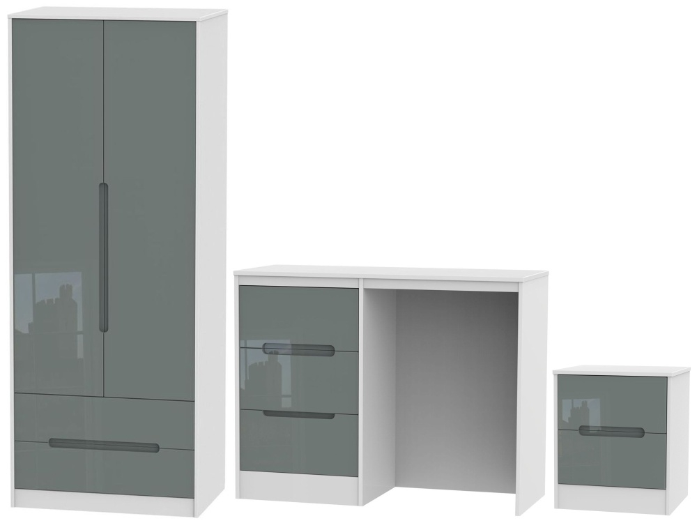 Monaco High Gloss Grey and White 3 Piece Bedroom Set with 2 Drawer Wardrobe