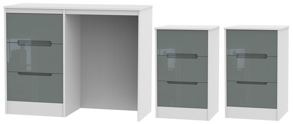 Monaco High Gloss Grey and White 3 Piece Bedroom Set with 3 Drawer Bedside