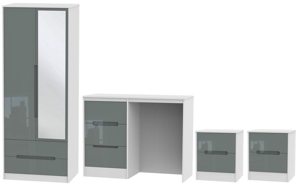 Monaco High Gloss Grey and White 4 Piece Bedroom Set with 2 Door Mirror Wardrobe
