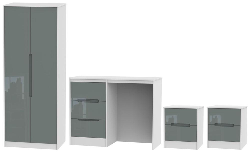 Monaco High Gloss Grey and White 4 Piece Bedroom Set with 2 Door Wardrobe