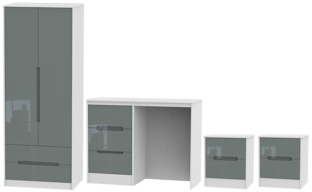 Monaco High Gloss Grey and White 4 Piece Bedroom Set with 2 Drawer Wardrobe