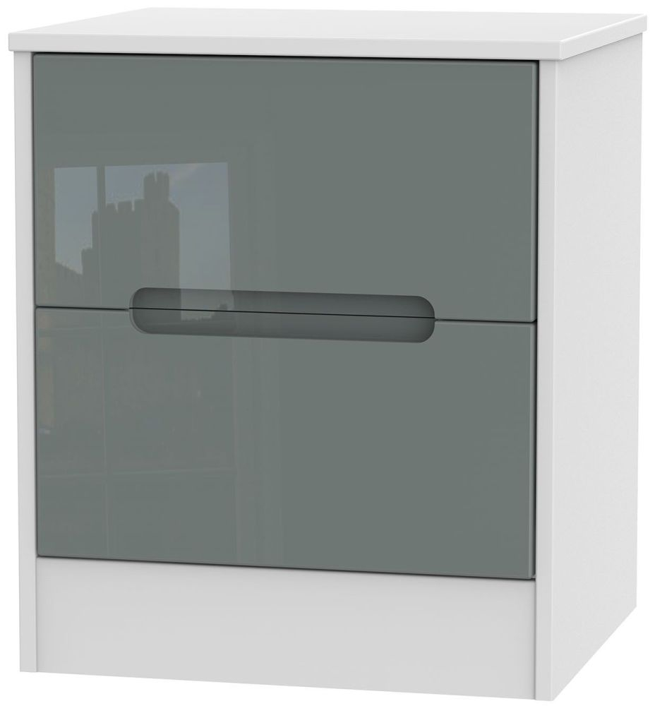 Monaco High Gloss Grey and White 2 Drawer Locker Bedside Cabinet