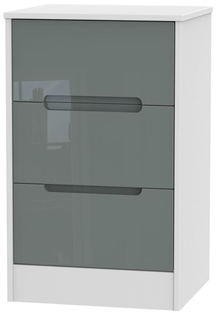 Monaco High Gloss Grey and White Bedside Cabinet - 3 Drawer Locker