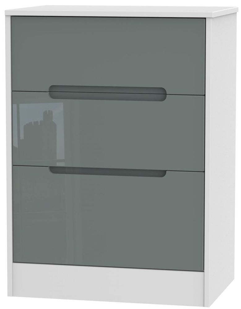 Monaco High Gloss Grey and White Chest of Drawer - 3 Drawer Deep Midi