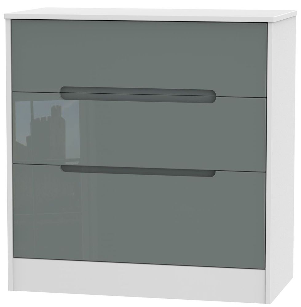 Monaco 3 Drawer Deep Chest - High Gloss Grey and White