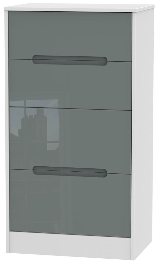 Monaco High Gloss Grey and White 4 Drawer Deep Midi Chest