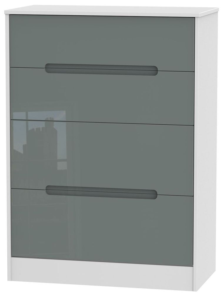 Monaco High Gloss Grey and White Chest of Drawer - 4 Drawer Deep