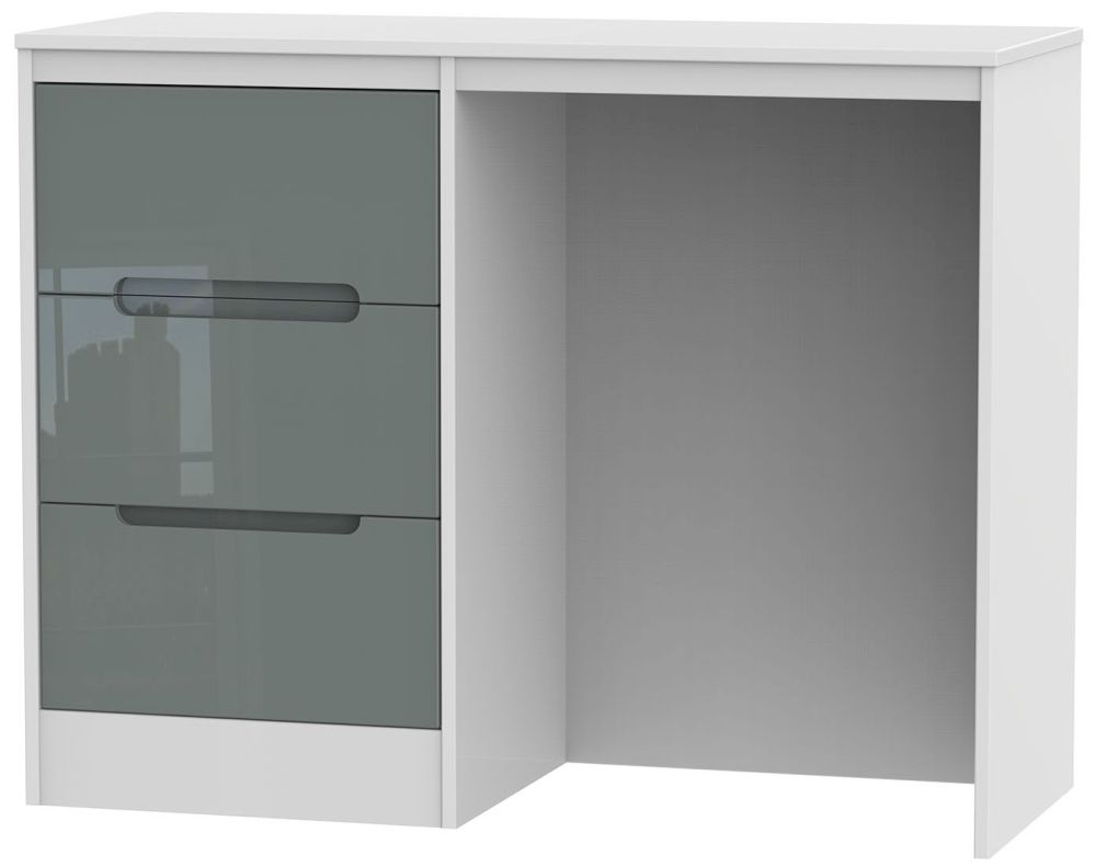 Monaco High Gloss Grey and White Dressing Table - Vanity Kneehole