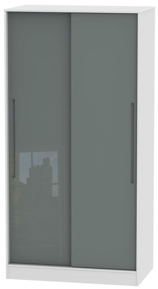 Monaco High Gloss Grey and White Sliding Wardrobe - Wide