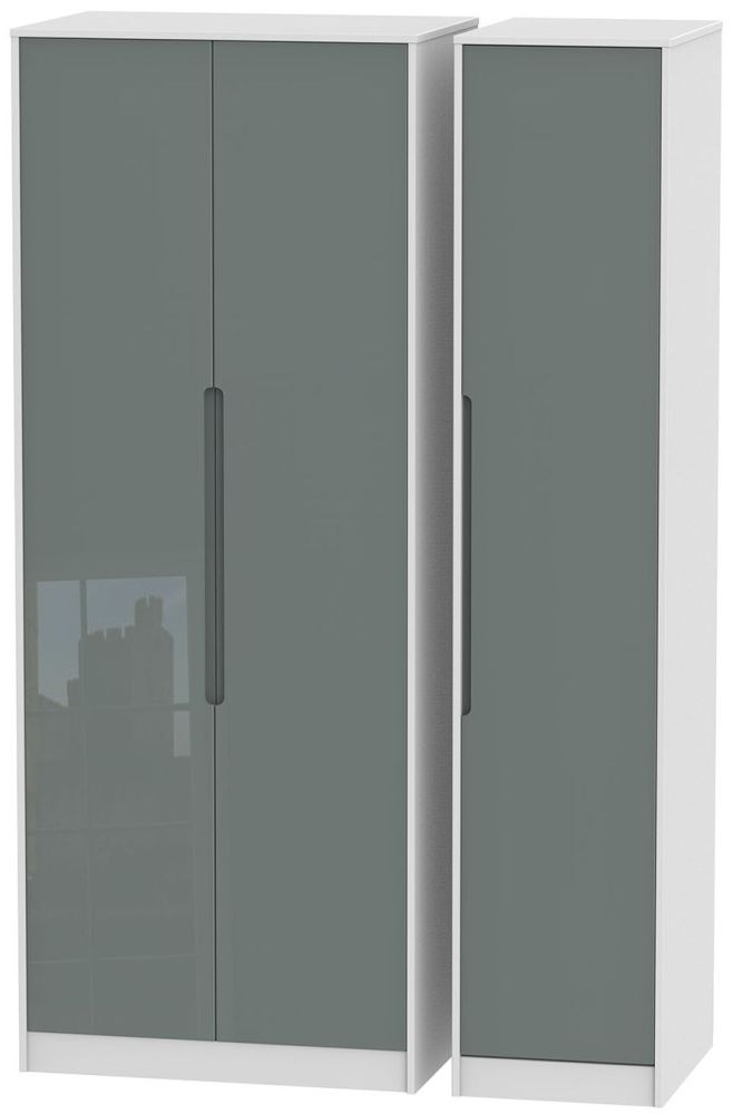 Monaco High Gloss Grey and White 3 Door Tall Plain Triple Wardrobe