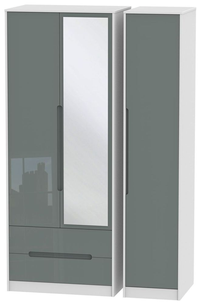 Monaco High Gloss Grey and White Triple Wardrobe - Tall with 2 Drawer and Mirror