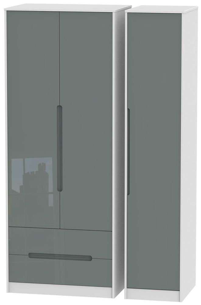 Monaco High Gloss Grey and White Triple Wardrobe - Tall with 2 Drawer