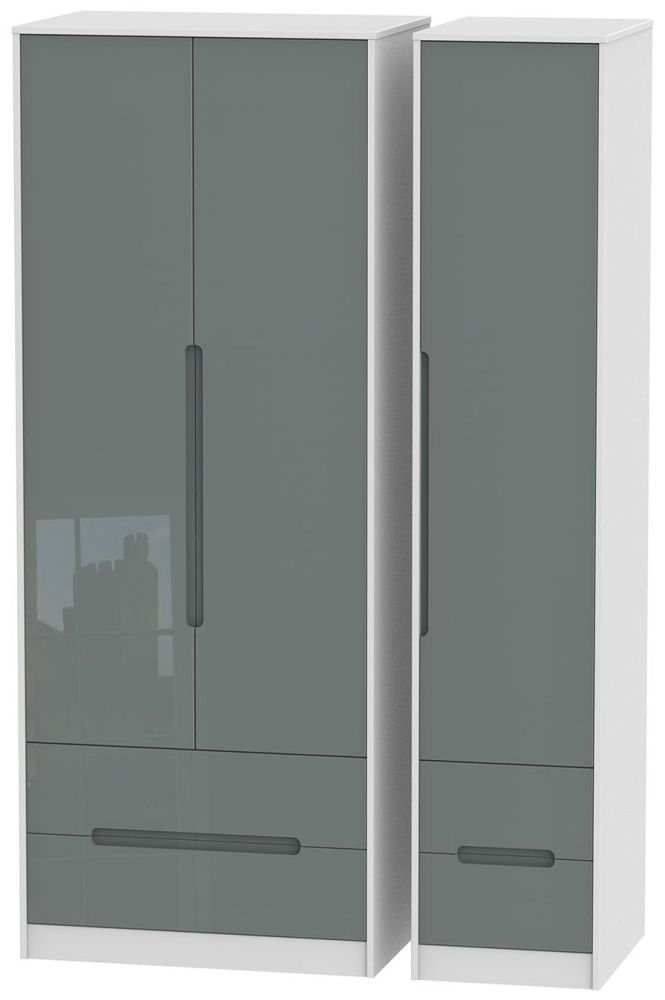 Monaco High Gloss Grey and White Triple Wardrobe - Tall with Drawer