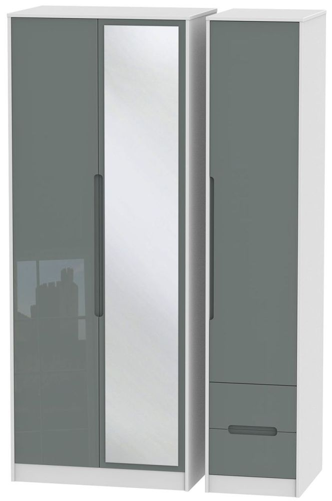 Monaco High Gloss Grey and White 3 Door 2 Right Drawer Tall Mirror Triple Wardrobe